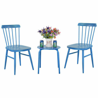 3PCS Patio Table Chairs Furniture Set  Bistro Garden Lawn Pool Side Steel Blue