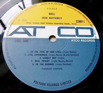 IRON BUTTERFLY Ball 1969 UK ATCO 1st PRESS - GATEFOLD - EXCELLENT+