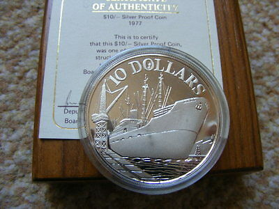 Singapore 1977 $10 Dollars Silver Proof Independence .500 31.10g Case & COA