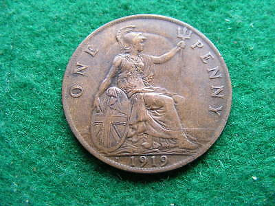 1919H Penny. George V. cleaned VF