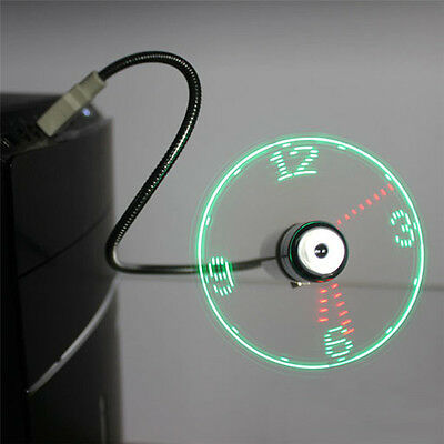 LED Clock Fan Mini USB Powered Cooling Flashing Real Time Display Function ER