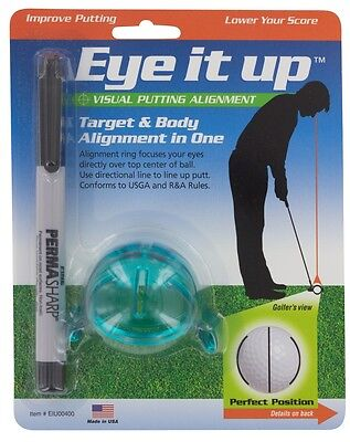 eye-it-up Marcador de pelotas Sistema Putting Blanco Cuerpo ALINEACION
