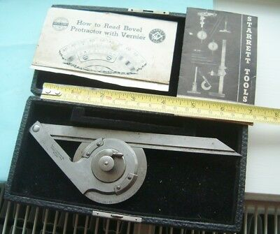 Starrett Protractor with Vernier tool boxed with AM military 1940 stamped to it