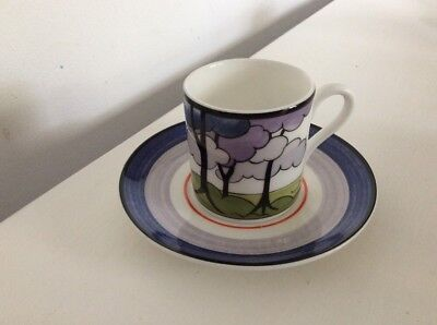 WEDGWOOD LIMITED EDITION, CLARICE CLIFF COFFEE CUP & SAUCER Blue Firs