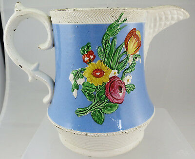 (Early to Mid?) 19th Century Moulded Floral Jug Blue Background