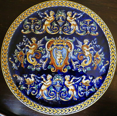 "Stunning Cobalt Blue & Yellow Gien Faience 12"" Diameter Charger"