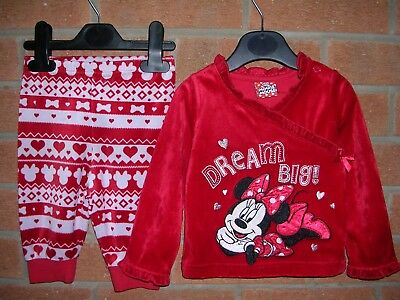 DISNEY Minnie Mouse Red Pyjamas Sleepwear Age 3-6m