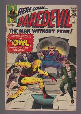 Daredevil # 3  1st app.of The Owl, Overlord of Crime !  grade 3.5 scarce book !