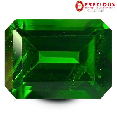 1.52 ct PGTL Certified Excellent Octagon Cut (8 x 6 mm) Chrome Diopside Gemstone