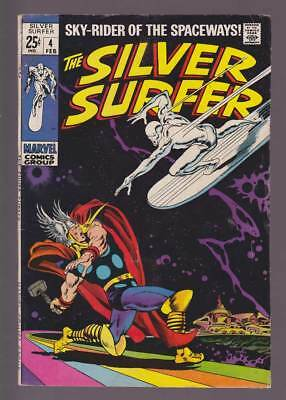 Silver Surfer # 4  Classic Surfer vs Thor Cover !  grade 4.0 scarce book !