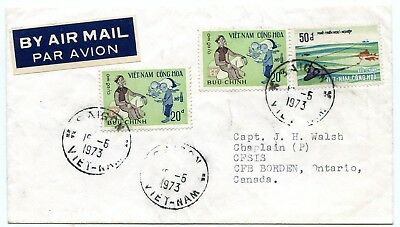 Vietnam Saigon airmail cover to Canadian Forces Base Borden, Ontario Canada 1973