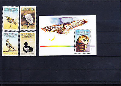 054673 Vögel Birds Uganda 435-38 + Block 51 ** MNH Year 1985