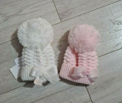 Kinder Boutique - Pearl Trim Diamond Knit Large Pom Hat White Pink 0-4 Years