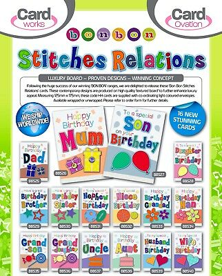 TRUE QUALITY 'STITCHES' RELATIONS CARDS JUST 27p,TEXTURED- WRAPPED, 16 STYLES X6