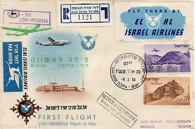 "FIRST Flight cover from""LOD to BRUSSELS"" via EL AL."