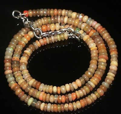 """48 Ctw 3.5-5 Mm 18""""natural Genuine Ethiopian Welo Fire Opal Beads Necklace-R5721"""