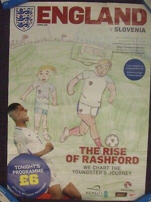 ENGLAND v SLOVENIA: 2018 WORLD CUP QUALIFIER: OFFICIAL WEMBLEY PROGRAMME POSTER!
