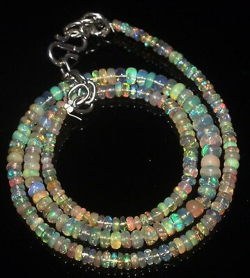 "36 Ctw 2-5 Mm 16""natural Genuine Ethiopian Welo Fire Opal Beads Necklace-R6579"
