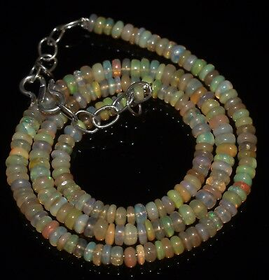 "46 Ctw 4-4.5 Mm 16""natural Genuine Ethiopian Welo Fire Opal Beads Necklace-R6586"