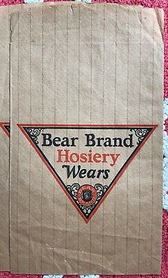 Very Hard To Find Vintage Country Store Bear Brand Hosiery Advertising Paper Bag