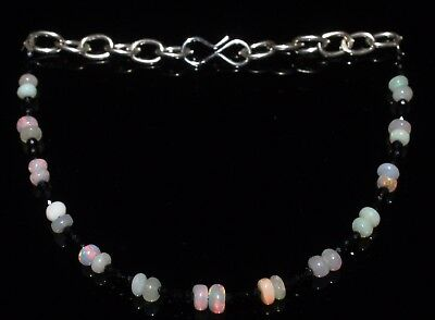 """11 Ctw1Bracelet 3to4mm5.5""""Beads Natural Genuine Ethiopian Welo Opal R6265"""