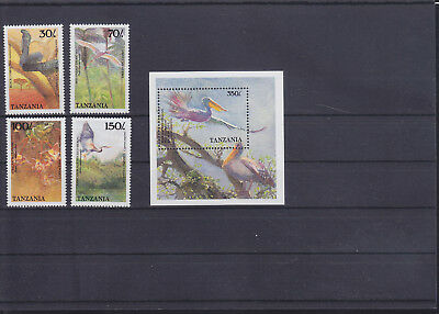 054720 Vögel Birds Tanzania 550-53 + Block 89 ** MNH Year 1989
