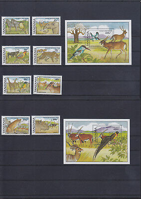 054725 Vögel Birds ... Tanzania 884-91 + Block 153/54 ** MNH Year 1991