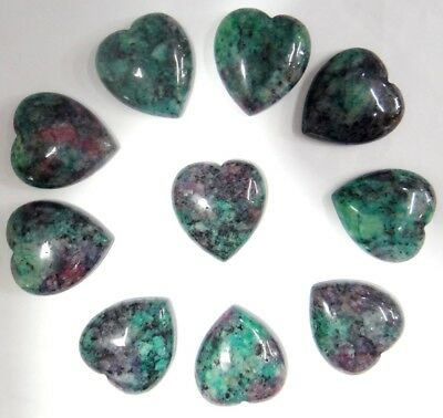 25*23mm ruby & zoisite Gem heart CAB CABOCHON Flat Back Beads Jewelry Design