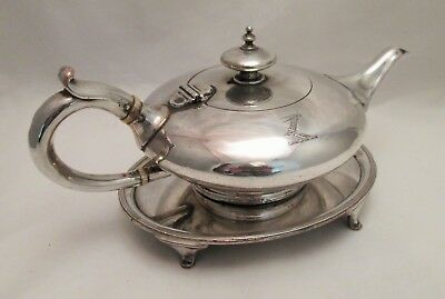 A Fine Old Sheffield Plate Bachelor Tea Pot on Stand c1800 - Crested