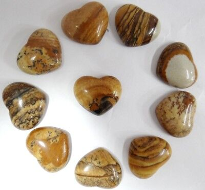 15*18MM picture jasper Gemston heart CAB CABOCHON Flat Back Beads Jewelry Design