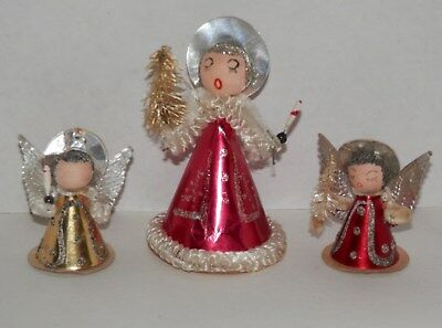Lot of 3 Vintage Japan Chenille Christmas Angels with Sparkle and Glitter