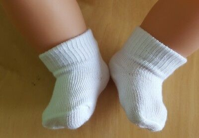 Brand New SET OF 2 WHITE/PINK GOOD QUALITY SOCKS to fit 18-20 inch Baby Dolls