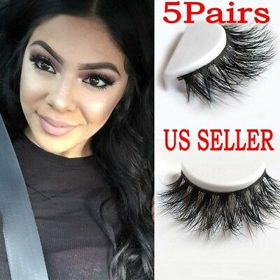 5 Pair 100% Mink Hair Natural Long Eye Lashes False 3D Eyelashes Handmade Makeup