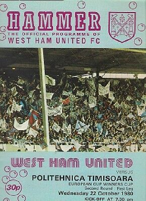 WEST HAM UNITED v POLITEHNICA TIMISOARA 1980-81 CUP WINNERS CUP programme