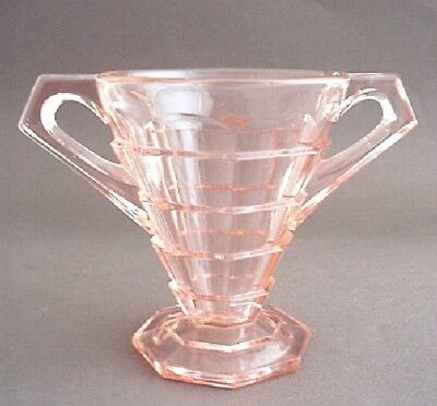 Indiana Glass TEA ROOM Pink Open Footed Sugar Bowl
