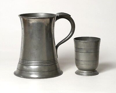 Excellent Large Antique Scottish Pewter Tankard And Reeded Beaker