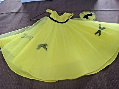 "Vintage Dress For 14"" Dolls Bright Yellow Party Dress May Be For Toni"