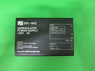 RS Unregulated Power Supply 591-843 591843 110/240 VAC 25 VDC 2 A Amp