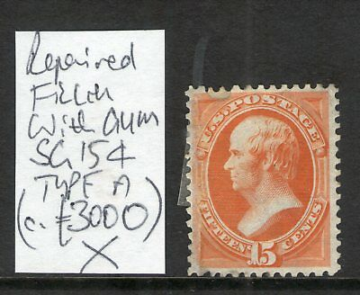 #138 USA 1870 15c MINT WITH GUM SG154 REPAIRED FILLER (c£3000)