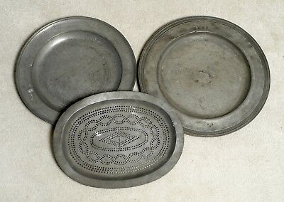Two Good Large Antique English Pewter Chargers And A Strainer