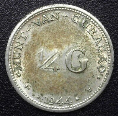 Curacao 1944 Silver 1/4 Gulden Y#6 Gem Uncirculated