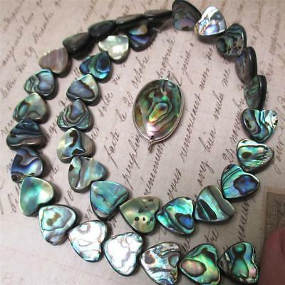"ONE, STUNNING, 15"" strand of Abalone Heart beads +  Pendant"