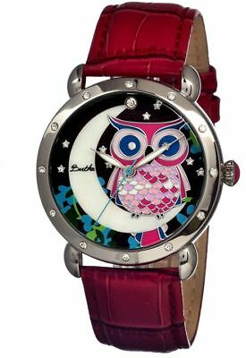 Bertha Ashley Ladies Watch, Red Leather Band, Silver Bezel, Multicolor : BR3001