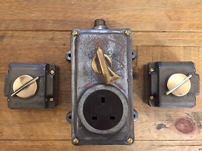 Vintage Industrial Light Switches Brass Steel Crabtree Walsall Electrical