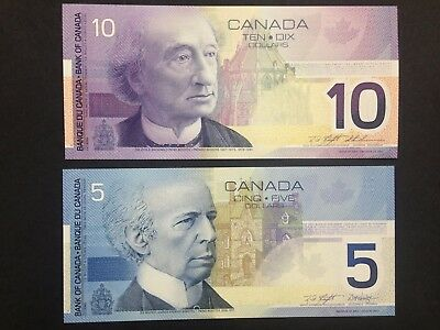 CANADA  (2 Notes)  5 and 10 Dollars 2001 /2002  -- UNC