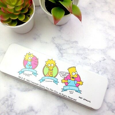 Vintage 90s Simpsons 1990 tin pencil case box metal