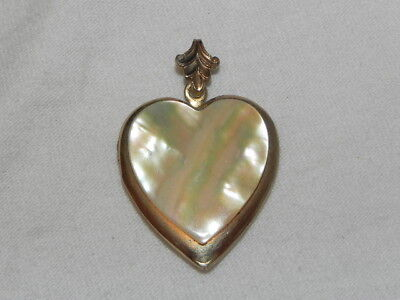 Vintage Mother Of Pearl Heart Sweetheart Locket Pendant Gold Filled?