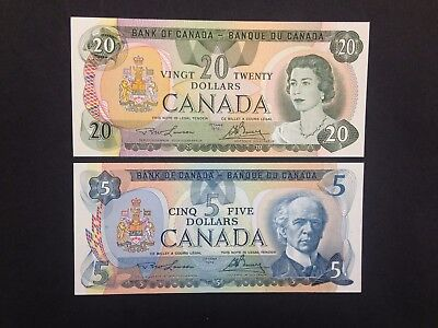 CANADA  (2 Notes)  5 and 20 Dollars  1979  -- UNC