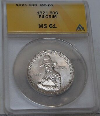 "1921 Pilgrim Commemorative Half Dollar ""ANACS MS61"" *Free S/H After 1st Item*"