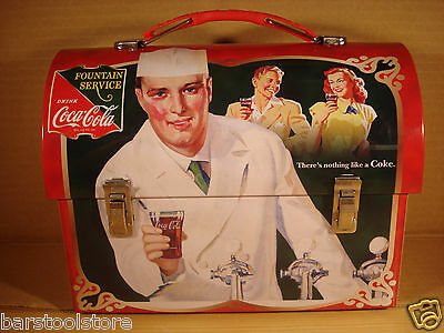 Coca-Cola (Coke) Domed Tin Tote/Carry All/Lunch Box: Fountain Service
